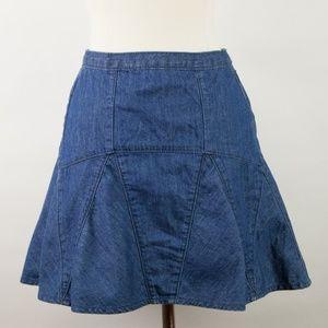 GAP 1969 Chambray Denim Flared Mini Skirt